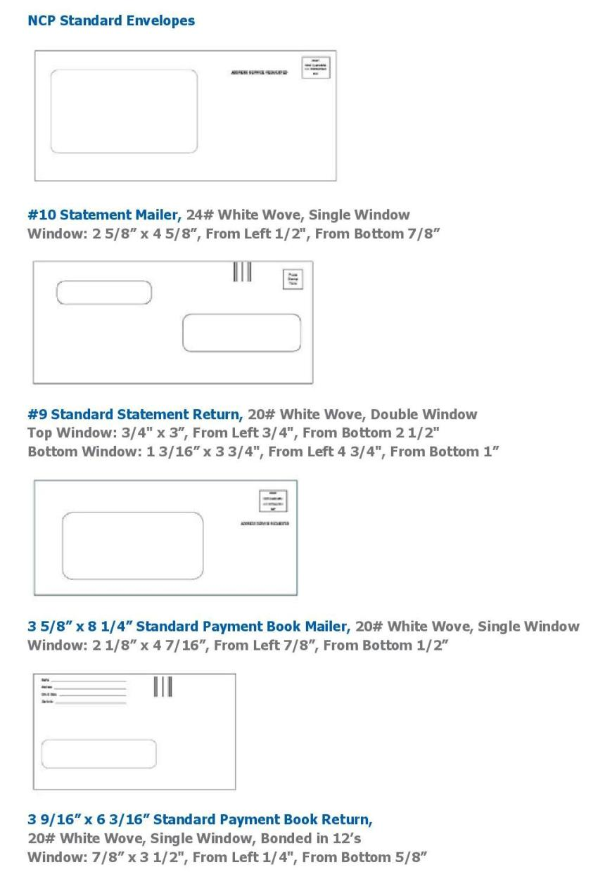 NCP Standard Envelopes