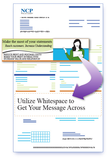 Utilize billing statement whitespace to deliver personalized one-to-one messages